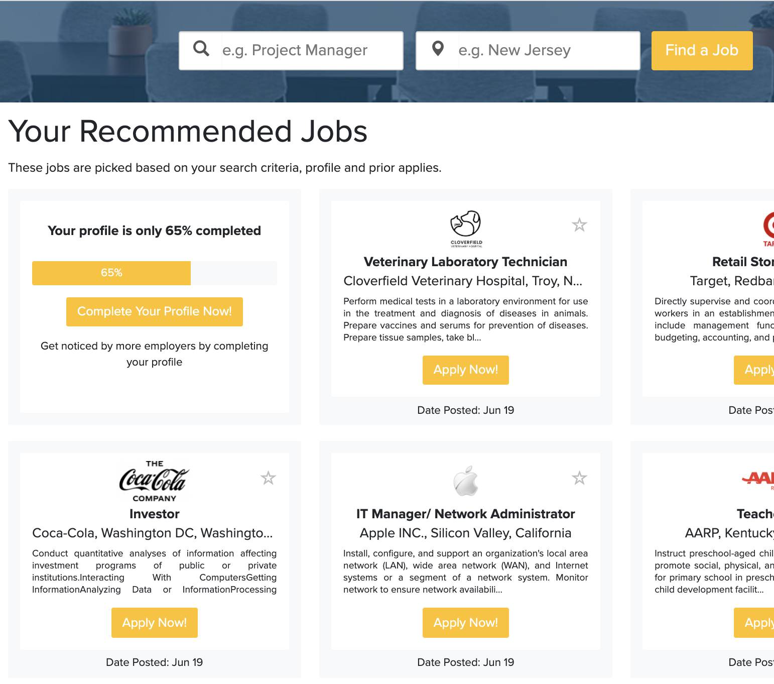 A screenshot of recommended jobs