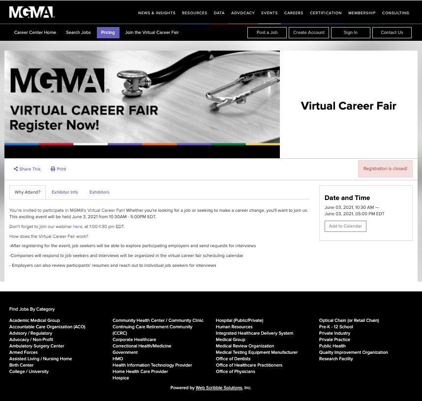 A screenshot of an MGMA virtual career fair