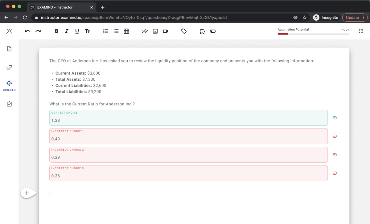 EXAMIND Question Builder Screenshot