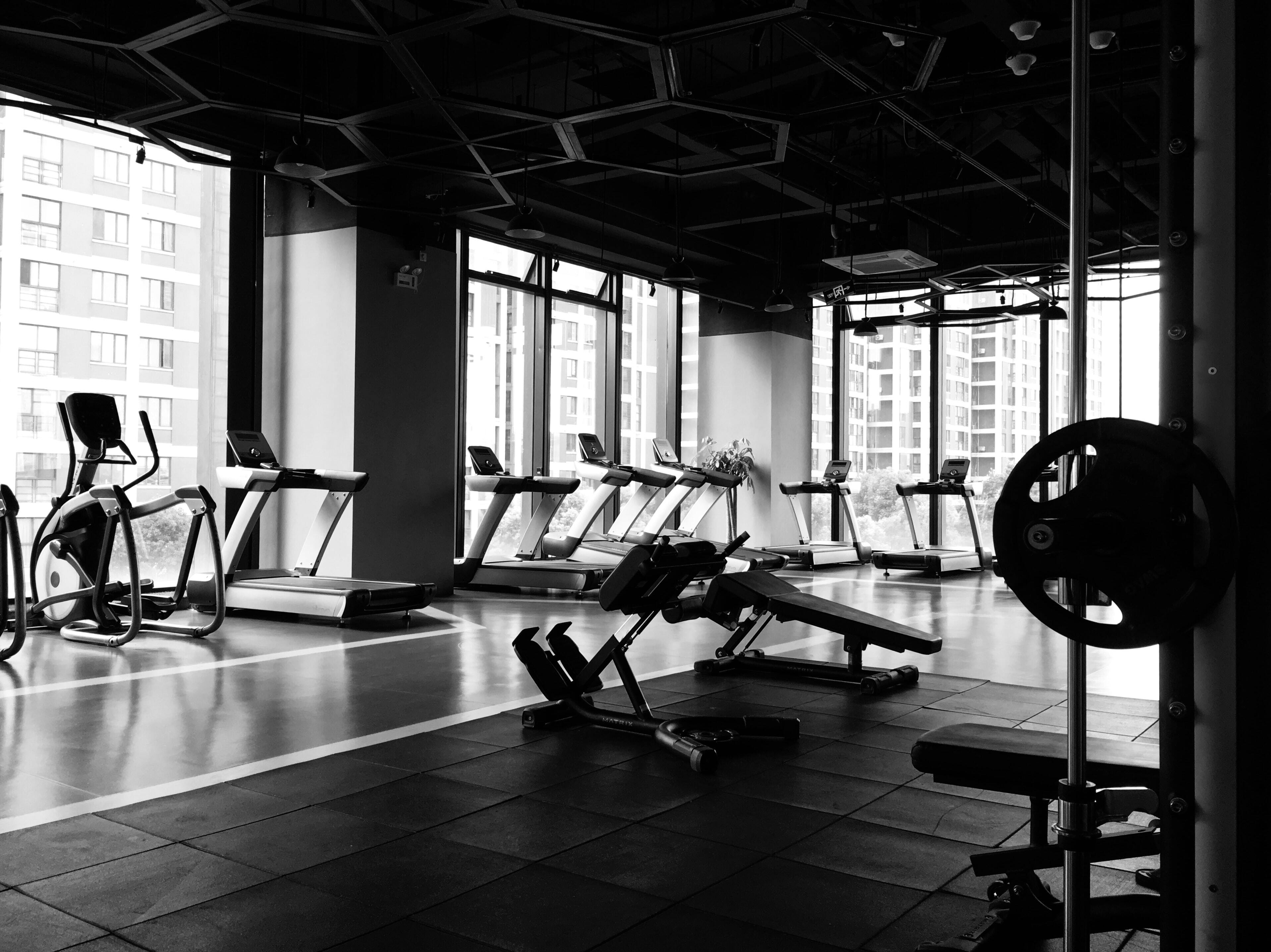 Black and White image of an empty gym