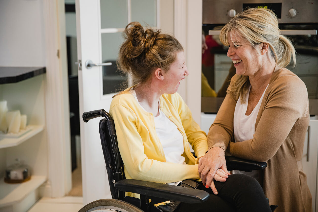 A support worker helper a person with a disability