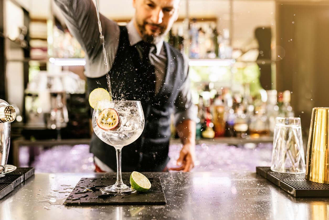 A bartender serving drinks
