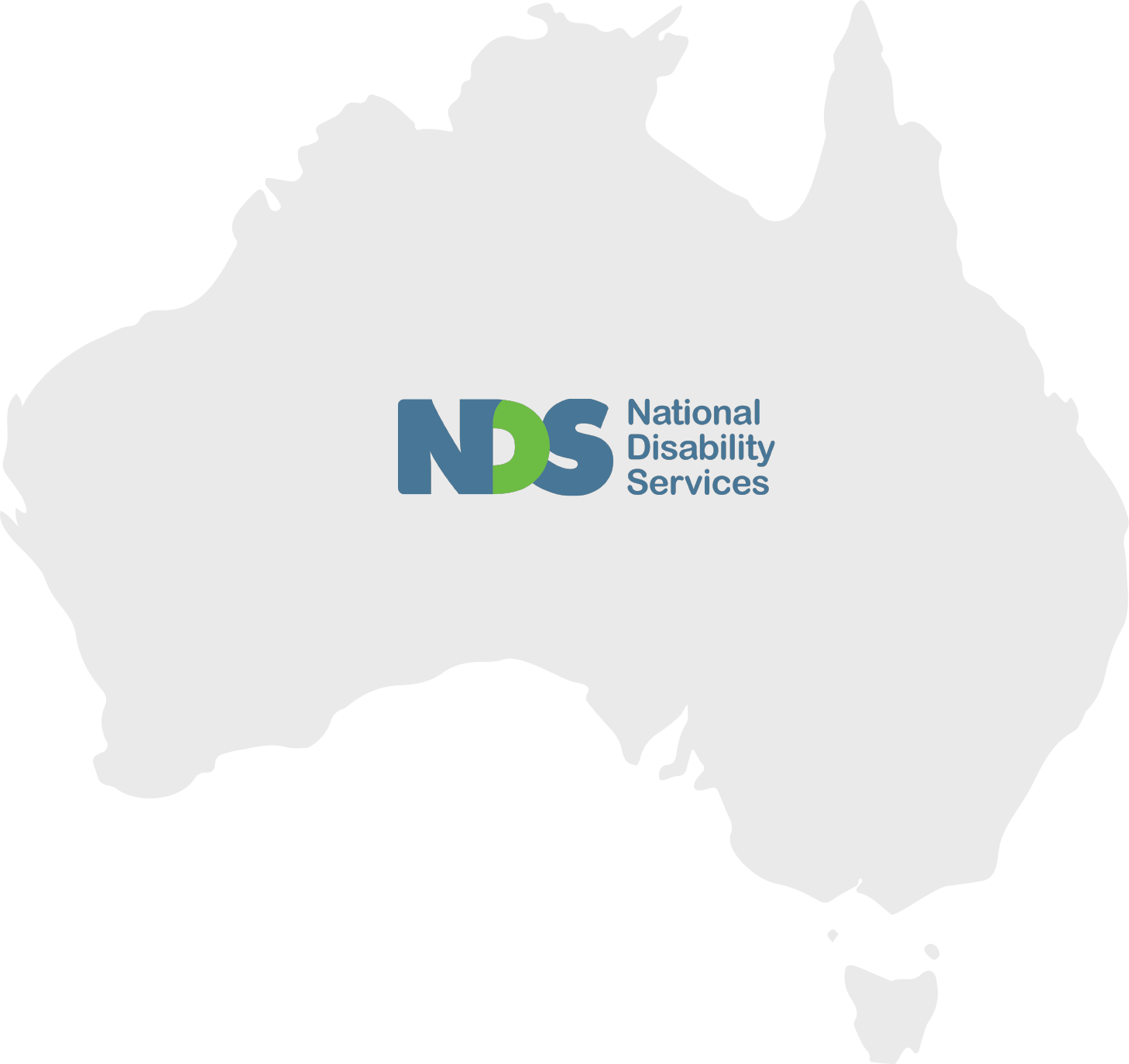 NDS logo on top of Australian map