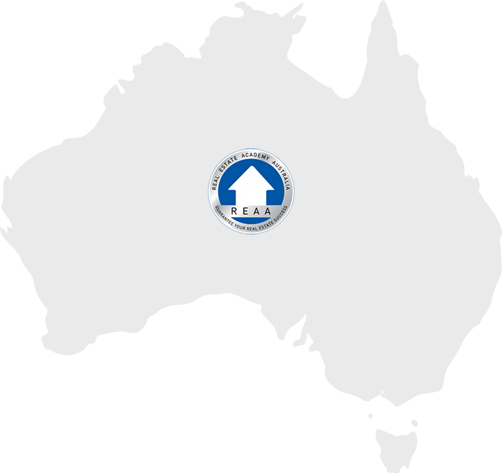 Map with REAA;s logo in a map of Australia
