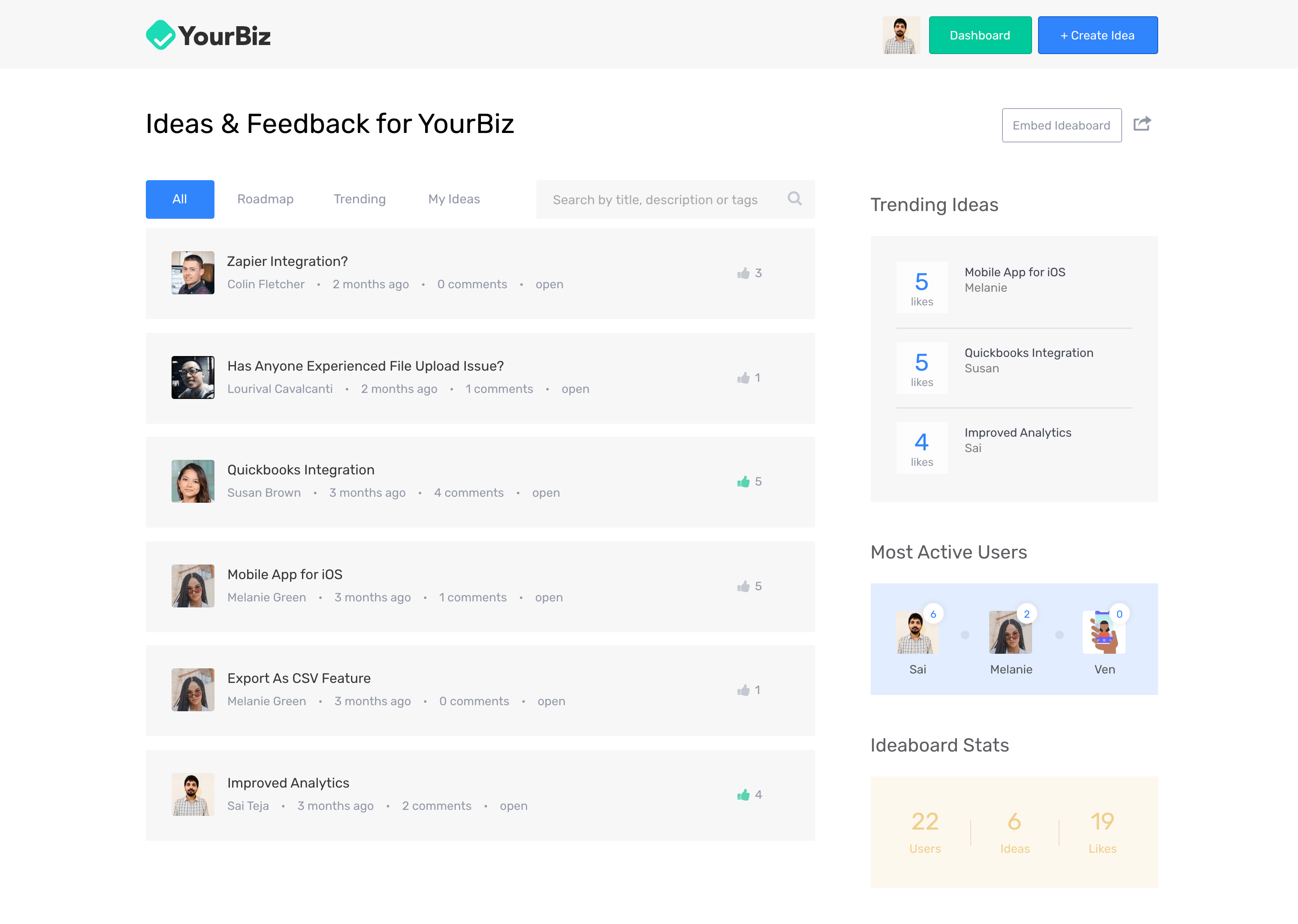 Ideaboard software dashboard for collecting feedback