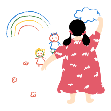 Illustration of a teacher drawing a colorful picture of children and a rainbow