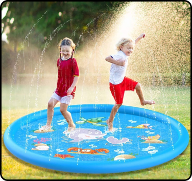 Kids playing in the water in a shallow pool