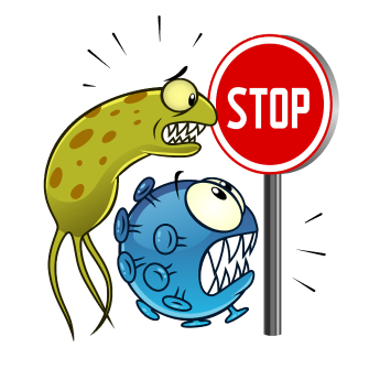 Illustration of germs looking at a stop sign in fear