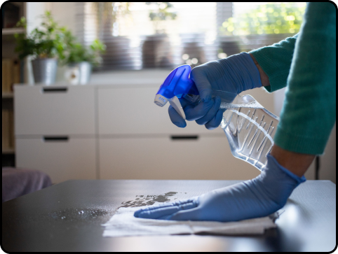 Person with a spray bottle cleaning a counter top