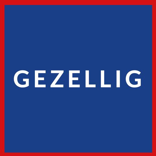 Dutch flag reading Gezellig