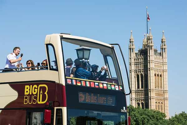 Open top bus ride in London