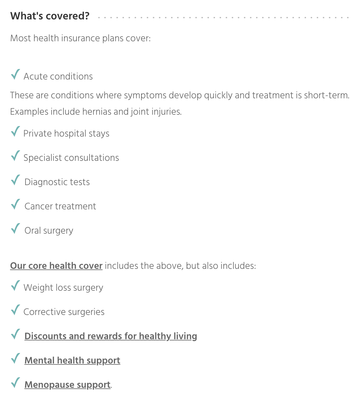 What's covered by most health insurance