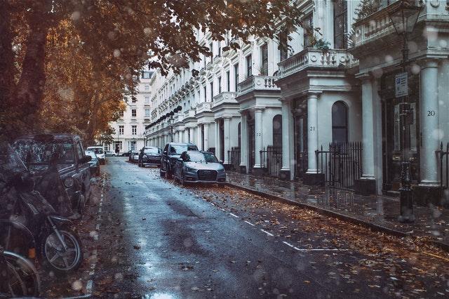 House in UK street scene