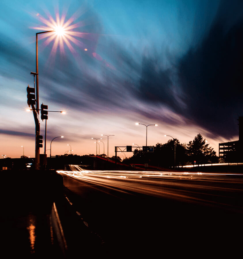 Road light during sunset