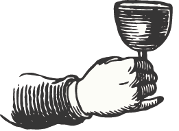 illustration of male hand holding wine cup