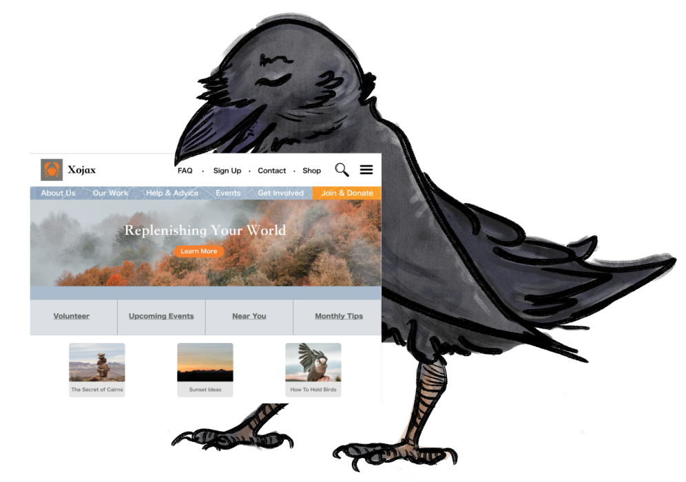 A sweet crow holding up a screenshot of a mocked-up website in their beak