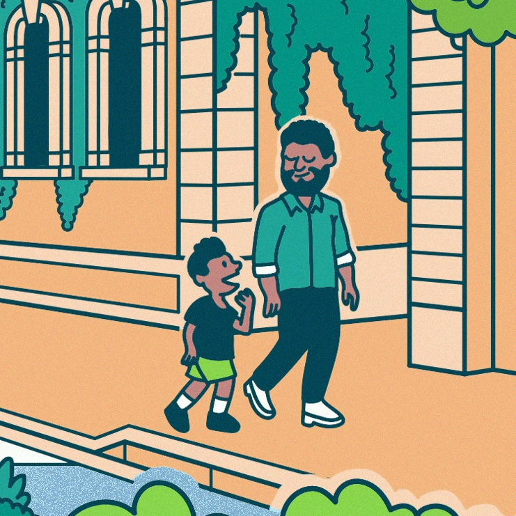 Artist illustration of life in a National Park City. A father and son walk along a pathway with a green wall in the background.