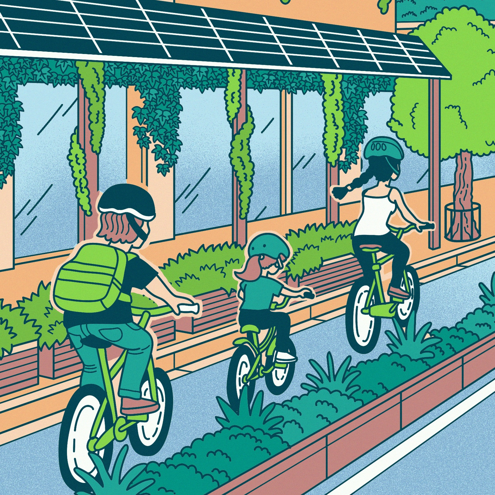 Artist impression of a national park city: illustration of a family cycling to school in a cycle path divided from the main road by lush planter boxes. Solar panels are visible over a shopfront awning.