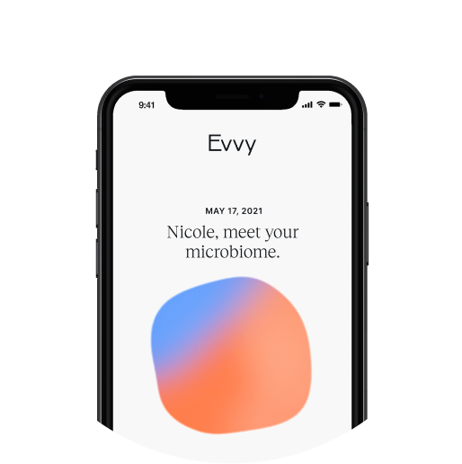 A screenshot of the Evvy product that says Hi Ellie, Meet Your Microbiome