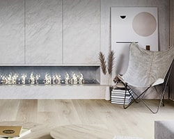 living room with vinyl flooring