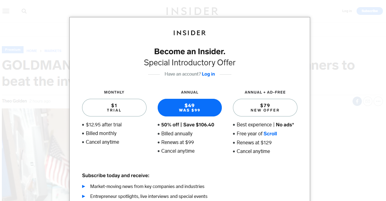 Business Insider landing page