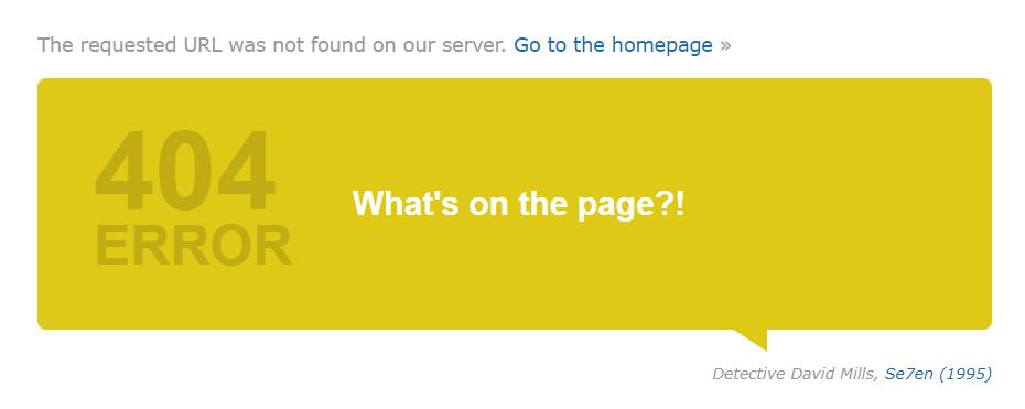 IMDB 404 landing page