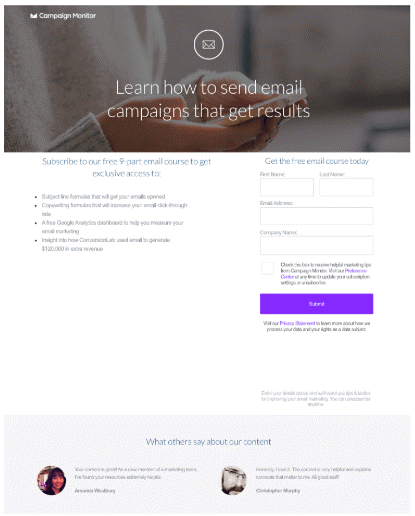 Campaign Monitor lead capture landing page