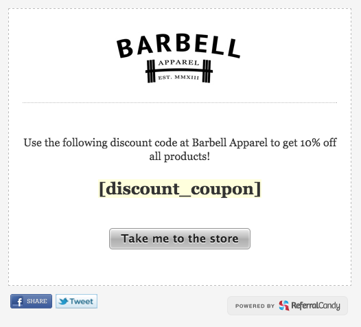 Barbell Apparel referral landing page