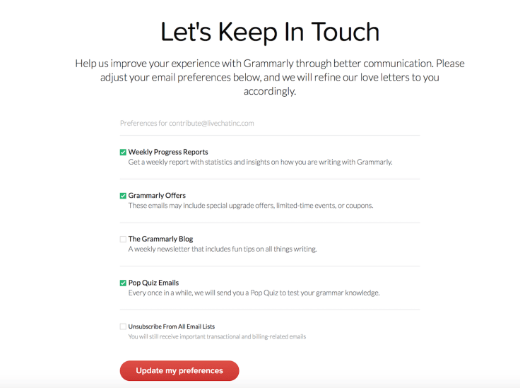 Grammarly unsubscribe landing page