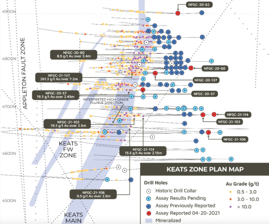 Figure 3: Example of Drillhole Collar Location Plan Provided by New Found Gold– Keats Zone