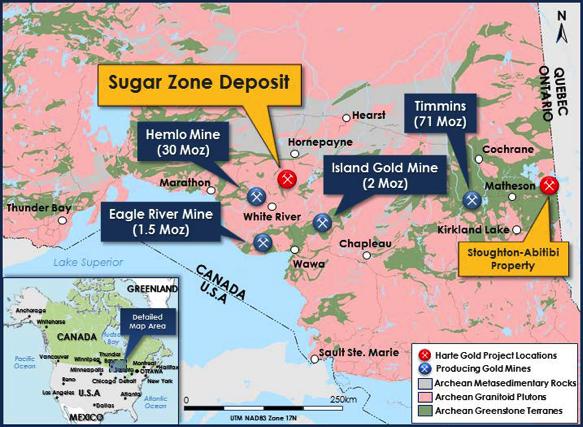 Harte Gold Figure 1: Location of the Sugar Zone Mine in Ontario, Canada
