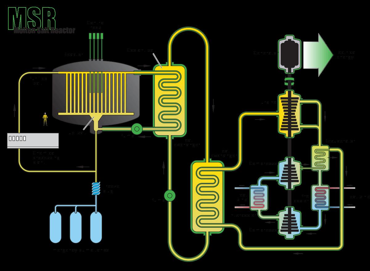 Molten Salt Reactor Diagram, Integrated Coolant Fuel System, Safe, Reliable