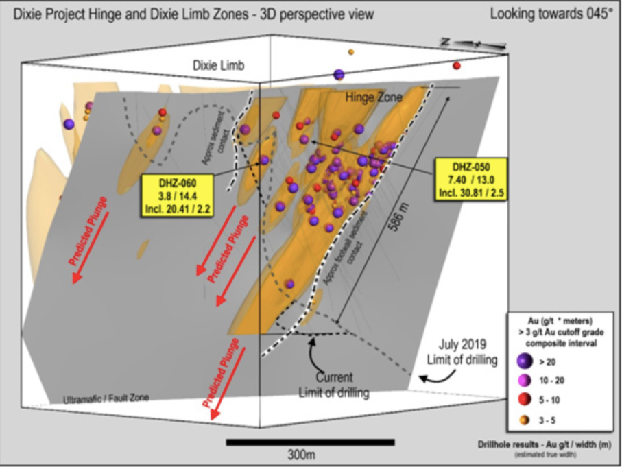 Figure 5: Great Bear Resources - Isometric View Focusing on the Hinge Zones