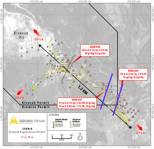 Figure 1: Adriatic Metals Drillhole Location Map for Kizevak Analyst's Notes: Understanding News Releases About Drill Results