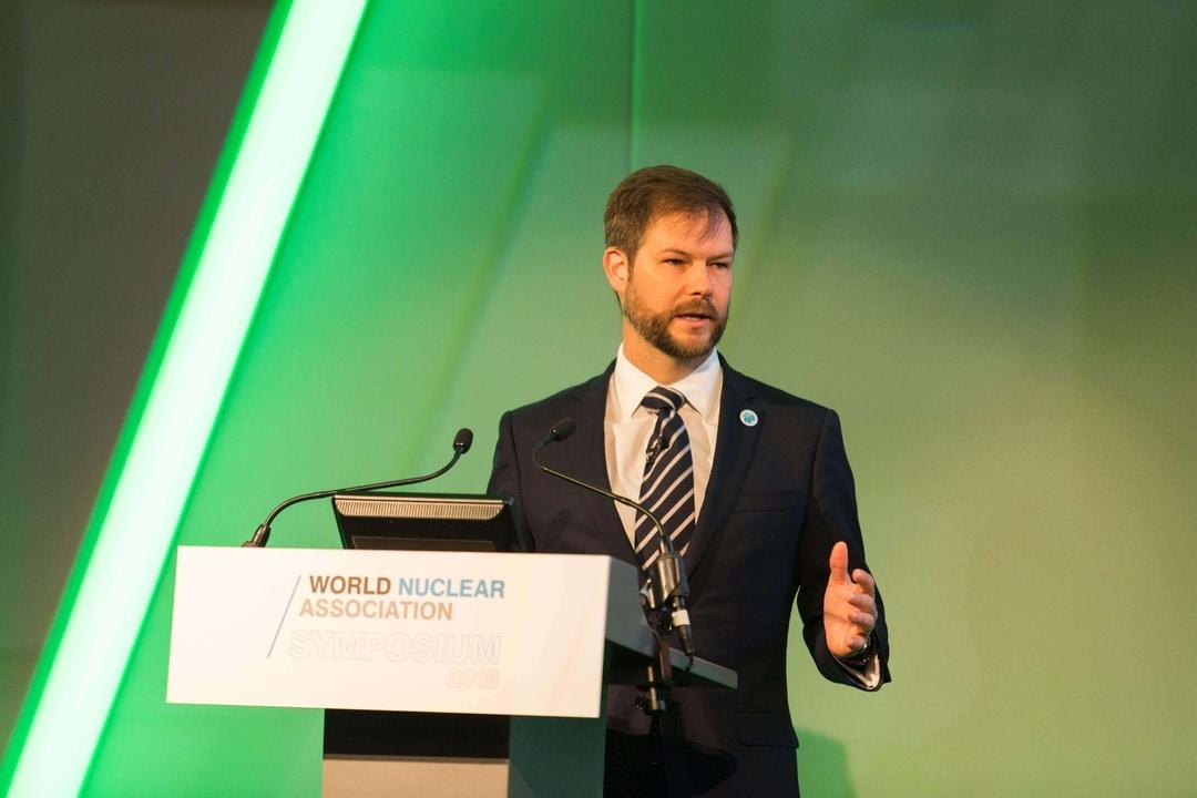 Brandon Munro at the World Nuclear Association Symposium 2018