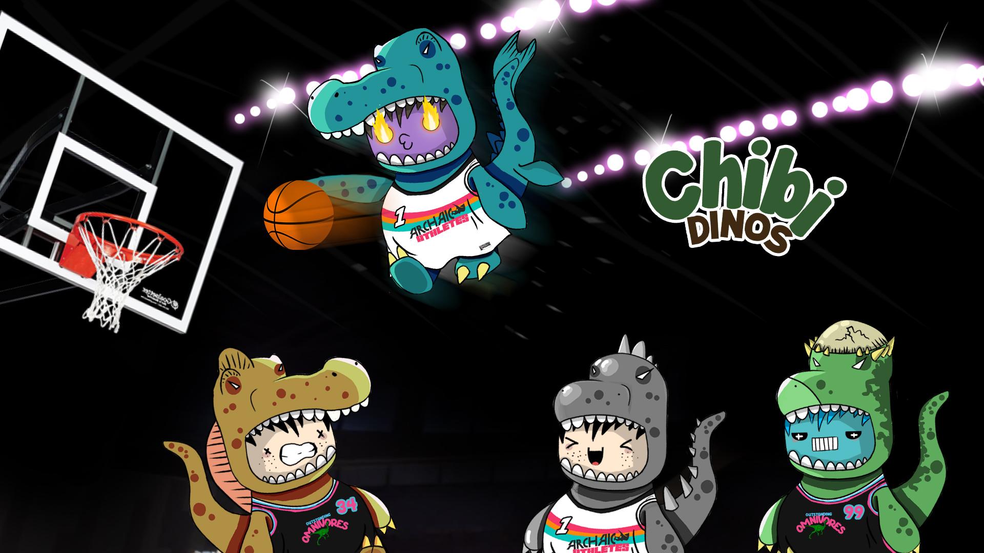 Chibi Dinos NFT playing Basketball