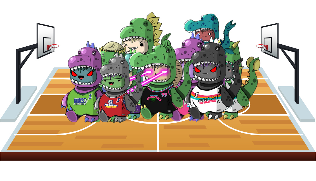 A group of 10 Chibi Dinos NFT