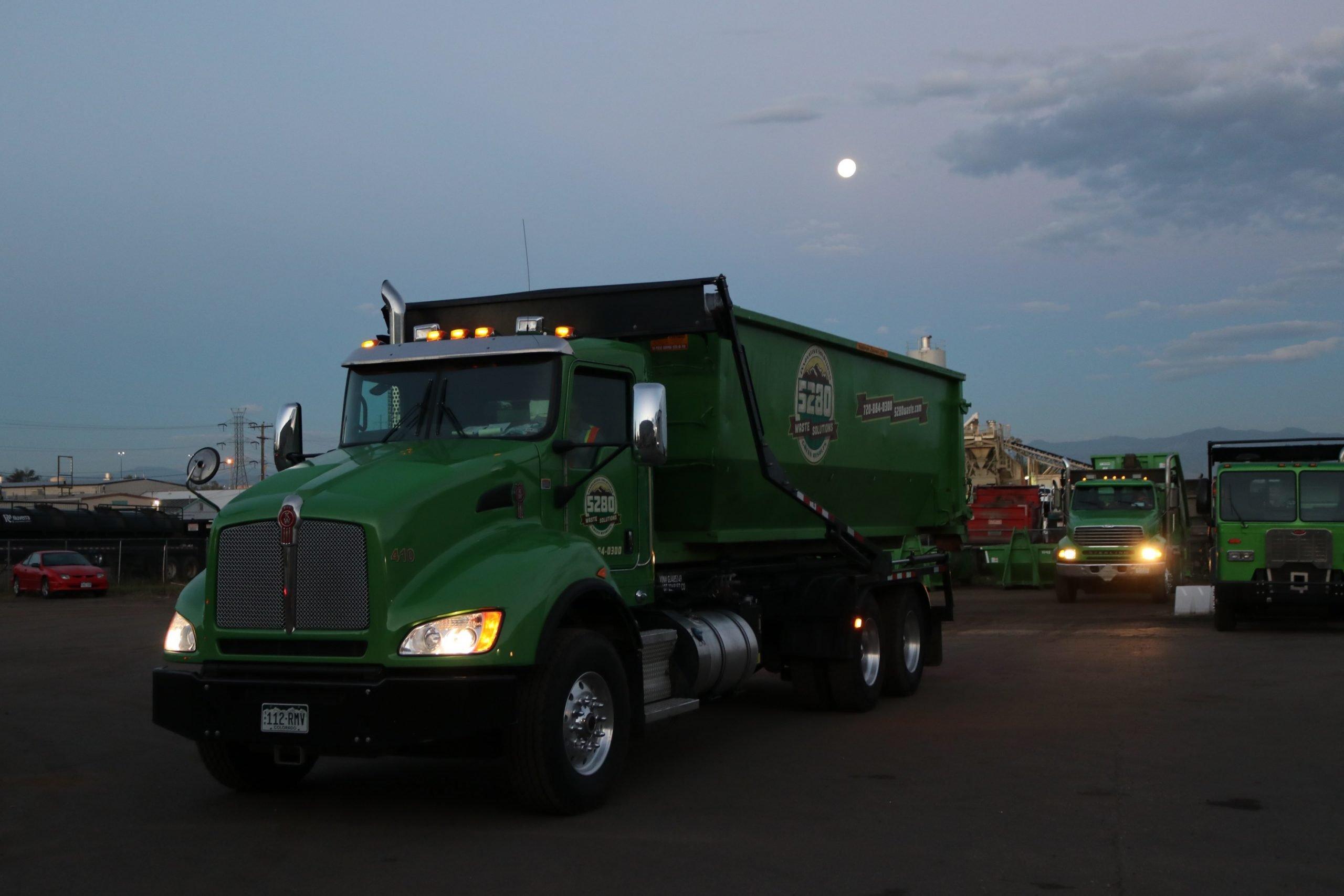 5280 Dumpster pictured at dusk