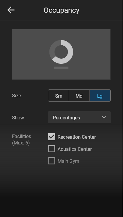 Controls in the CMS for creating the facility occupancy widget.