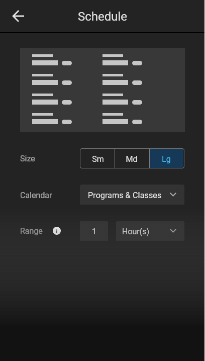 Controls in the CMS for creating the schedule widget.
