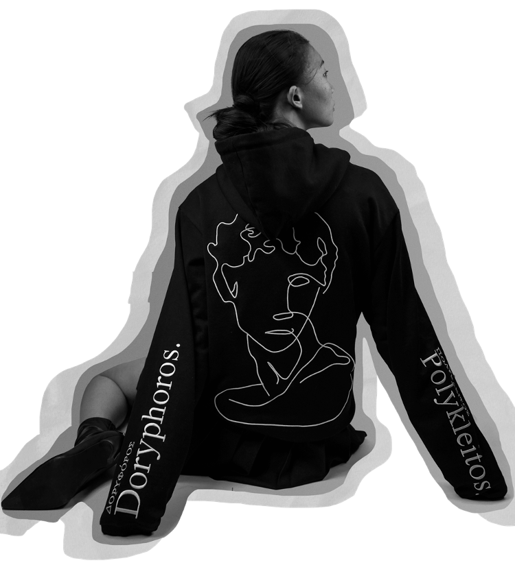 Chinese Street Fashion Model Sitting Down Wearing Limited Edition French Terry Hoodie Model Doryphoros