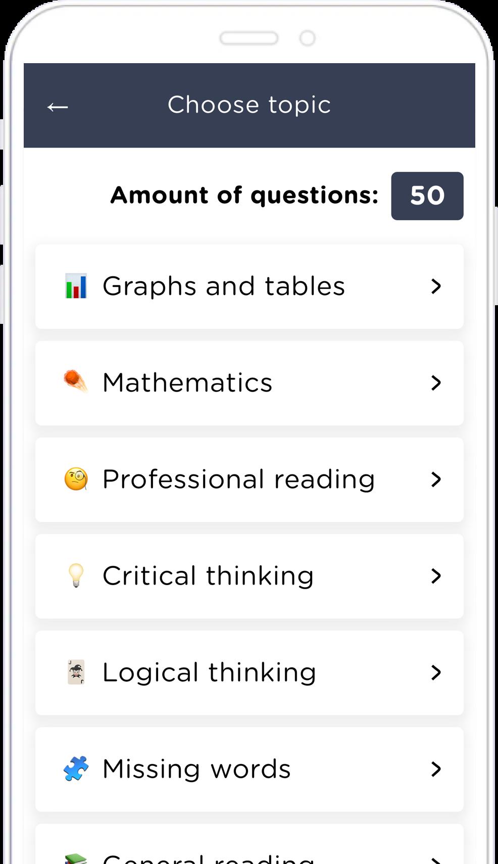 Screenshot of the AdmissionPal app's topic picker screen.