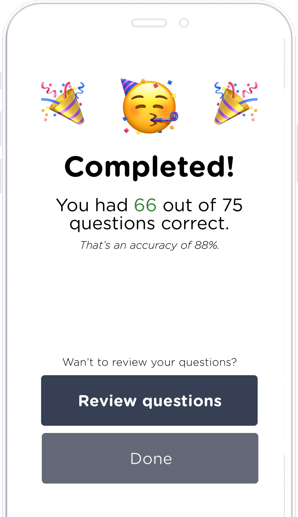 Screenshot of the AdmissionPal app's evaluation screen.