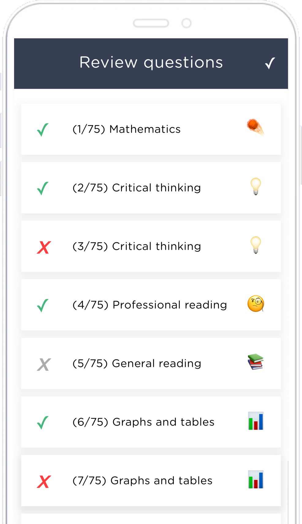 Screenshot of the AdmissionPal app's review screen for the question list.