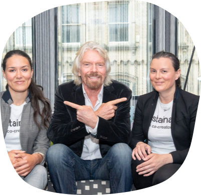 Sir Richard Branson with Sustainably co-founders Loral and Eishel Quinn