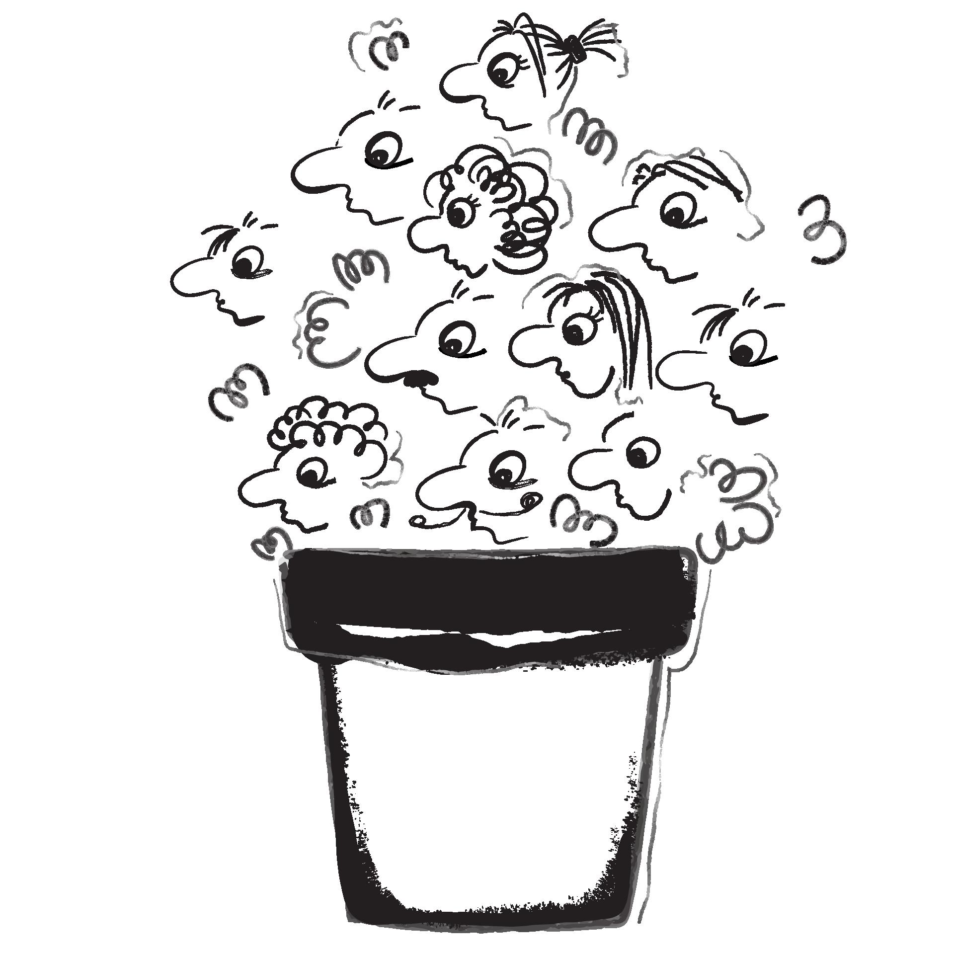 Illustrierter Blumentopf mit Köpfen als Blumen