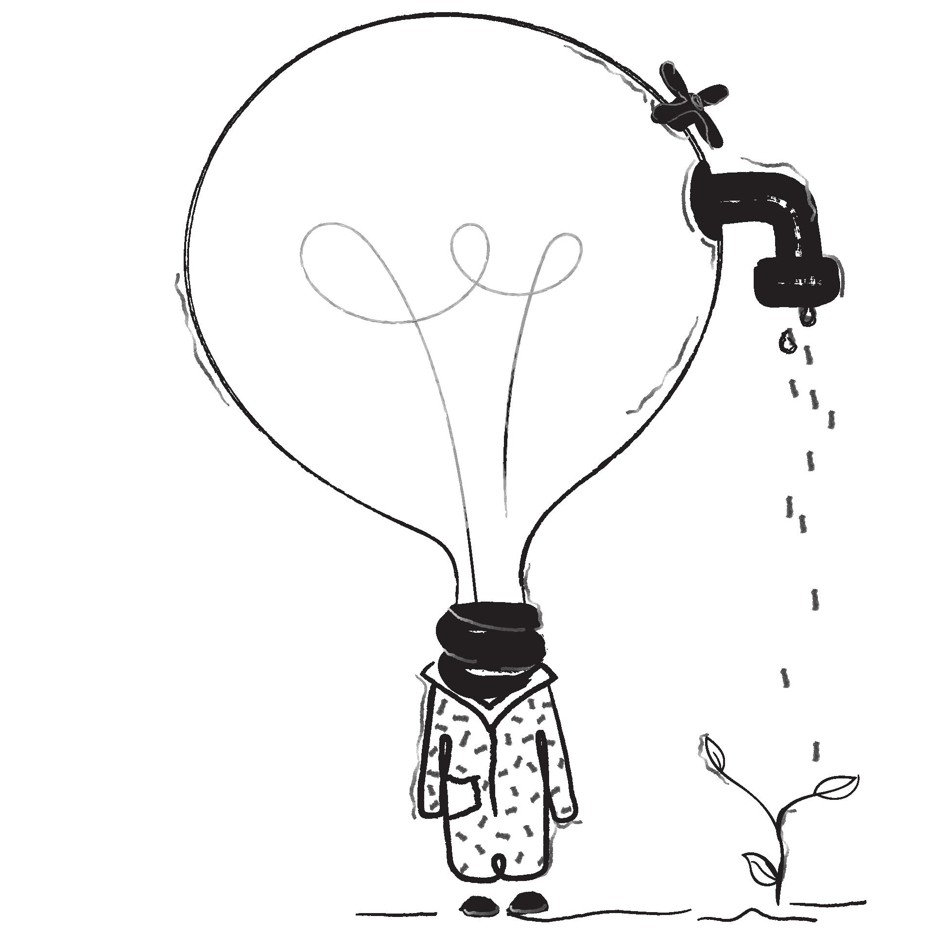 Illustrierte Glühbirne mit Wasserhahn gießt Pflanze