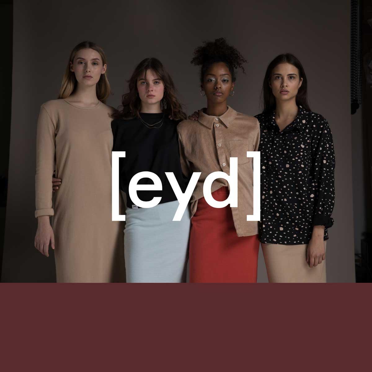 Vier Frauen mit unterschiedlichen Hautfarben auf einem Werbeplakat von dem Modelabel [eyd]