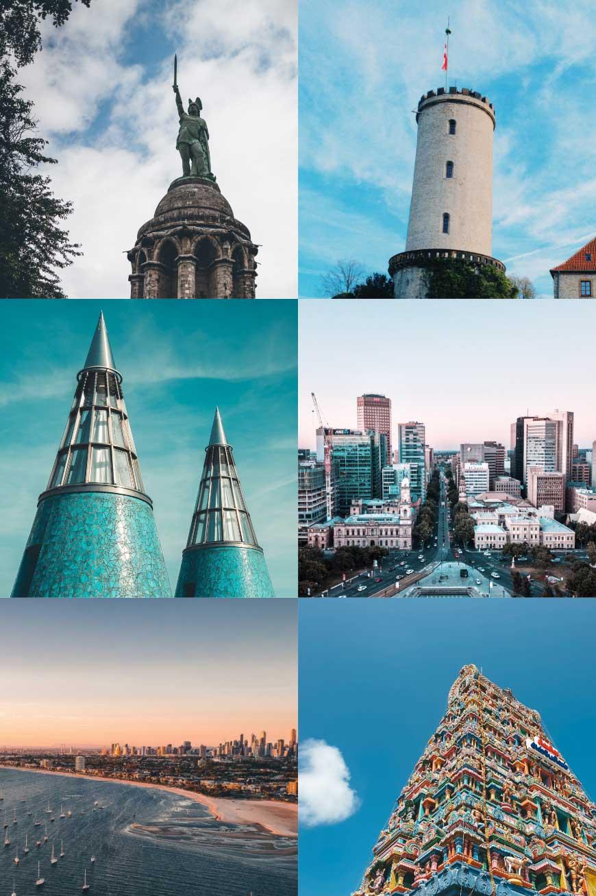 Symbolbilder der Standorte Detmold, Bielefeld, Bonn, Adelaide, Melbourne, Chennai