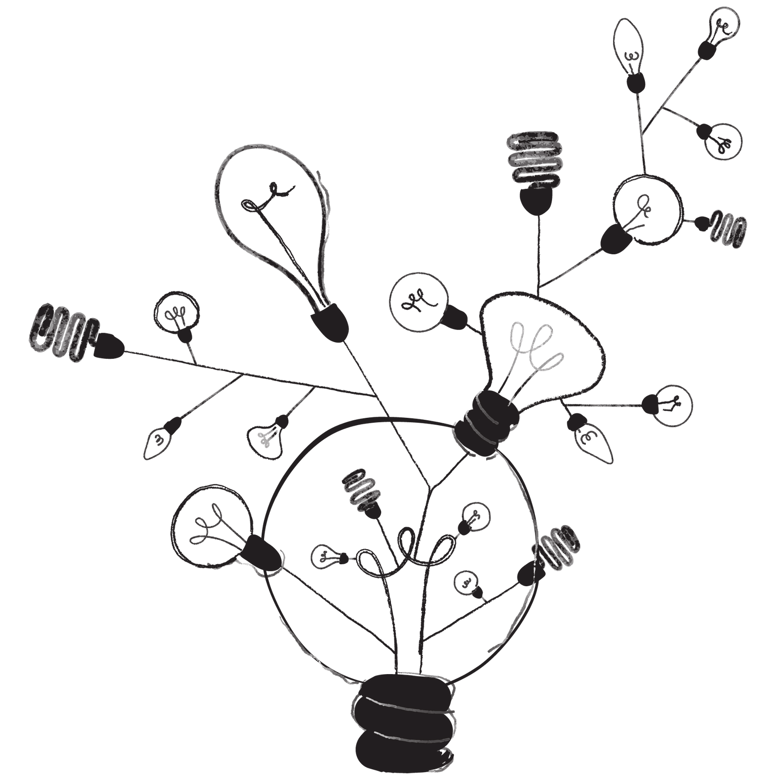 Illustrierter Baum aus Glühbirnen